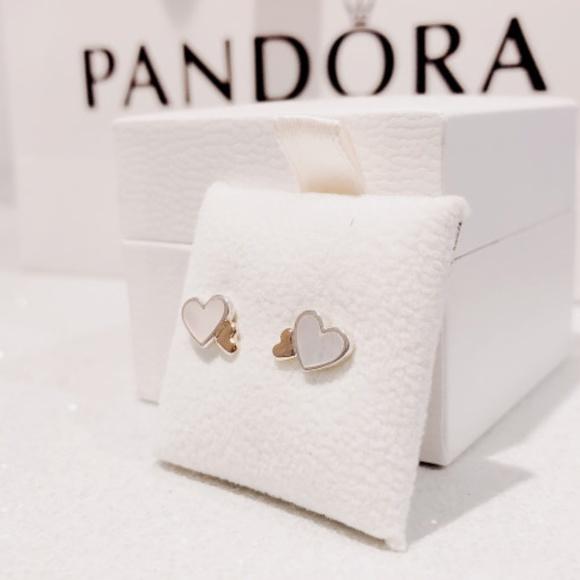 68fc60231 Pandora Jewelry   290697mop Hearts Stud Pearl 14k Earrings   Poshmark